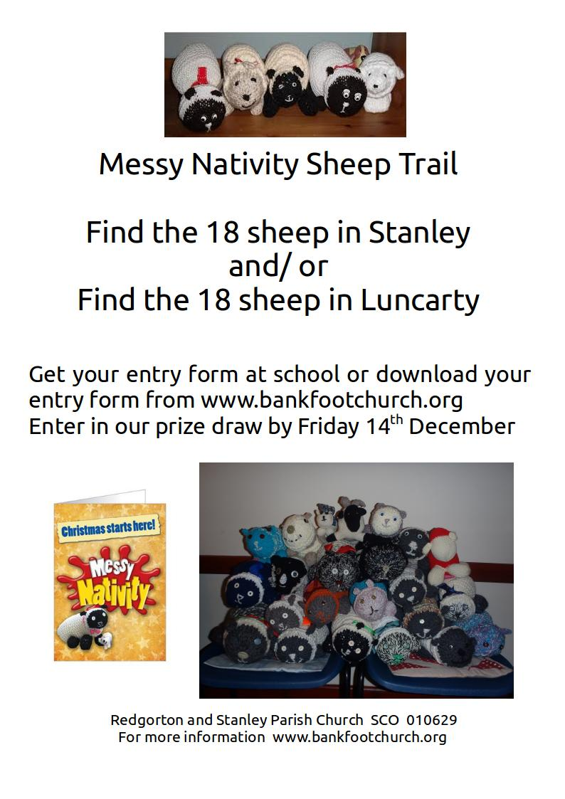Messy Nativity sheep trail poster