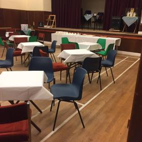 village hall set up for quiz